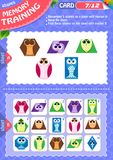Memory game children shapes 7. Memory game children. learning of geometry shapes. Memory training Stock Photos