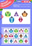 Memory game children shapes 6. Memory game children. learning of geometry shapes. Memory training Royalty Free Stock Images