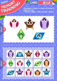 Memory game children shapes 9. Memory game children. learning of geometry shapes. Memory training Royalty Free Stock Image