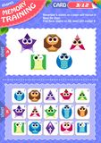 Memory game children shapes 3. Memory game children. learning of geometry shapes. Memory training Royalty Free Stock Image
