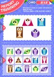 Memory game children shapes 2. Memory game children. learning of geometry shapes. Memory training Royalty Free Stock Images