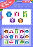 Memory game children shapes 4. Memory game children. learning of geometry shapes. Memory training Royalty Free Stock Image