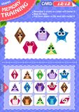 Memory game children shapes 12. Memory game children. learning of geometry shapes. Memory training Stock Images