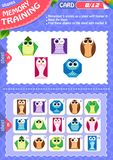 Memory game children shapes 8. Memory game children. learning of geometry shapes. Memory training Royalty Free Stock Photo