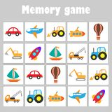 Memory game with pictures - different transport for children, fun education game for kids, preschool activity, task for the vector illustration