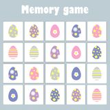 Memory game with pictures easter theme for children, fun education game for kids, preschool activity, task for the development of