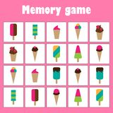 Memory game with pictures - ice creams theme for children, xmas fun education game for kids, preschool activity, task for the royalty free illustration
