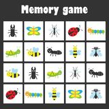 Memory game with pictures -insect theme for children, xmas fun education game for kids, preschool activity, task for the royalty free illustration