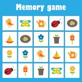Memory game with pictures - spring and garden theme for children, xmas fun education game for kids, preschool activity, task for stock illustration