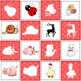 Memory game for preschool children, vector cards with cartoon animals. Find two identical picture. Kids activity page for book. royalty free stock photo