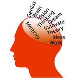 Memory. An illustration of a head with memory, thinking and other related keywords Stock Photos