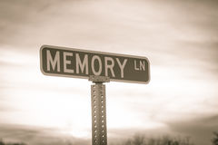 Memory Lane. Raod sign in sepia tones stock image
