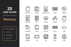 9 memory line icons. 20 Thin Line ultra quality line icon. Icons for business, and user interfaces Royalty Free Illustration
