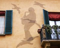 In memory of Lucio Dalla, famous italian singer, silhouette made with nails on the wall of his house in Bologna stock photos