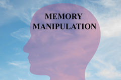 Memory Manipulation - mental concept. Render illustration of `MEMORY MANIPULATION` title on head silhouette, with cloudy sky as a background royalty free illustration