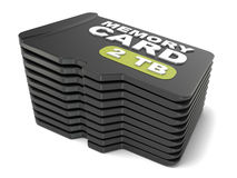Memory micro SD card stack. 3D Royalty Free Stock Image