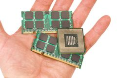 Memory modules and processor for laptops. Memory module s and CPU for laptop upgrade stock images