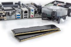Memory modules of a desktop computers against of other component. Two DDR4 SDRAM memory modules used in the desktop computers, workstations and servers at royalty free stock images