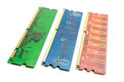 Memory modules. Of different types of components for PC stock image