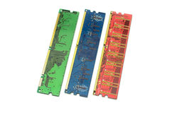 Memory modules. Of different types on a white background royalty free stock photography