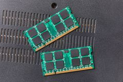 Memory modules for laptops. Memory modules for laptop upgrade stock photos