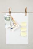 Memory note paper with Euro moneys Stock Image