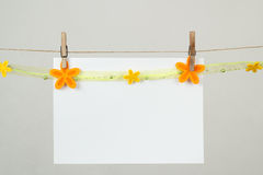 Memory note paper with flowers Royalty Free Stock Image
