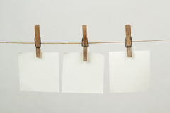 Memory note paper hanging on cord Stock Photo