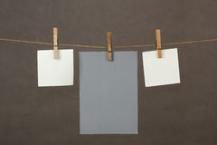 Memory note papers hanging on cord Royalty Free Stock Photo