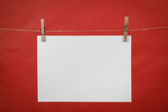 Memory note white paper hanging on cord Royalty Free Stock Images
