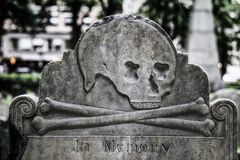 In Memory Old Gravestone. Skull and cross-bone design on an old grave marker in a historic cemetery with the words `In Memory Stock Photo