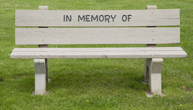 In Memory of Park Bench Stock Photo