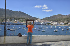 Memory picture of the town of Cadaques Stock Photo