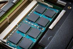Memory slot. Of the laptop closeup stock photos