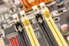 Memory Slots On Motherboard Royalty Free Stock Image