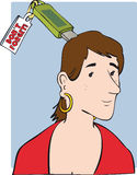 Memory stick. Attached to woman's head Royalty Free Illustration