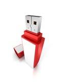 Memory Stick de destello portátil rojo de memoria USB Imágenes de archivo libres de regalías