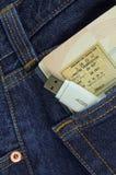 Memory stick e pagina del passaporto Fotografia Stock