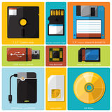 Memory Tools Flat Icon Set Stock Photo