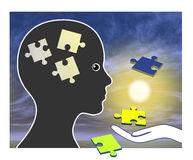 Memory Training after Amnesia. Recovering memories after brain damage or injury through rehabilitation Royalty Free Stock Image