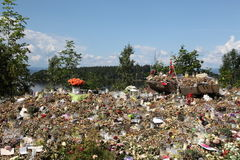 Memory of victims of Norway attack at island Utoya Royalty Free Stock Image
