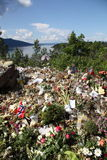 Memory of victims of Norway attack at island Utoya Stock Photo