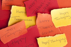 Memos with Happy Thanksgiving Stock Photo