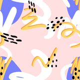 Memphis abstract pattern. Of blue spots, orange line with orange shade, white swirls, black dots on a pink background in the style of the 80s royalty free illustration