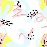 Memphis abstract pattern. Of yellow spots, pink lines with a pink shade, blue swirls, with black dots in the style of the 80s vector illustration