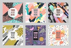 Memphis Abstract Posters Set with Geometric Shapes and Hand Drawn Brushes. Hipster Trendy Banners, Templates, Cover Royalty Free Stock Photos