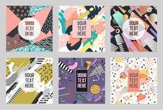 Memphis Abstract Posters Set met Geometrische Vormen en Hand Getrokken Borstels Hipster In Banners, Malplaatjes, Dekking Royalty-vrije Stock Foto's