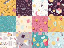 Memphis abstract textures geometric ornament background vector illustration seamless pattern Royalty Free Stock Photo