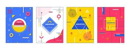 Memphis affischer Minsta geometriskt banerdiagram, modern modemall, idérik formdesign 3 abstrakt texturvektor f?r bacground D vektor illustrationer