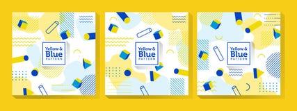 Memphis Art bleu et jaune illustration libre de droits